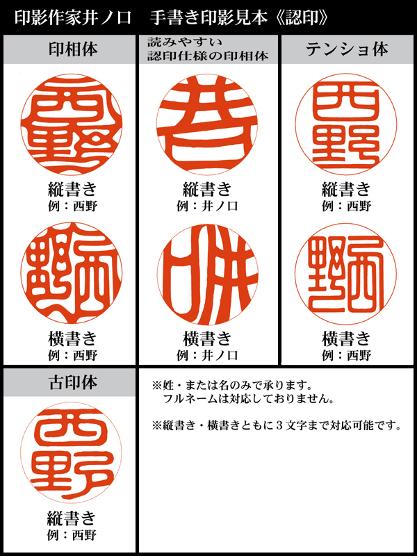 書体は赤枠の7パターンの中からおひとつお選びいただけます。