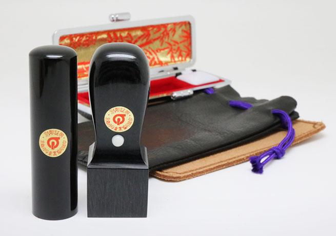 会社印鑑 芯持ち黒水牛黒彩樺 2本セット 寸胴型